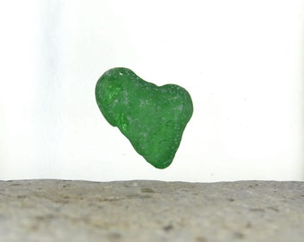 Green Sea Glass Heart, Genuine Seaglass, Love Lover, Ocean Nautical, Envious Heart, Beach Glass, Jewelry Grade, Keepsake, Valentine Gift