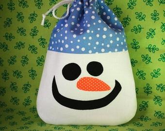 Snowman Christmas Gift Bag - Party Favor - Treat Bag - fabric and reusable - eco friendly