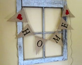 HOME Burlap Banner, Burlap Bunting,  Hearts, Housewarming, New Home, Mantel Banner, Home Decor