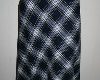 Vintage Plaid Women's Skirt 1970s Excellent Condition