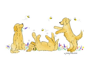 Whimsical Golden Retriever Trio with Bees Print 5x7