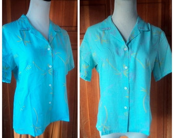 Vintage 70s Blouse Surfer Girl Tropical Print Muted Blue Top Pineapples Button Up Cali Blouse L 36 Bust