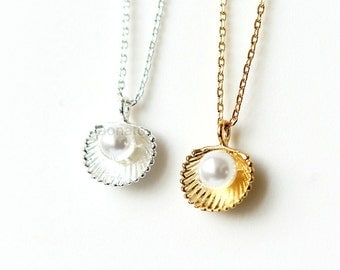 Pearl and Seashell Necklace / shell necklace, choose your color, gold silver