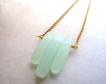 Seaglass Sea Glass Necklace Boho Bohemian Beach Tusk Necklace BellinaCreations Bellina Creation