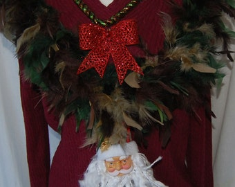 Ugly Sweater Ugly Christmas Sweater - burgundy with camo boa ugly holiday - women's XL v-neck - decorated - perfect for ugly sweater contest