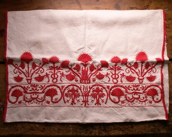 Vintage Red Work Embroidered Pillow Case Pillow Cover - Red and White Floral