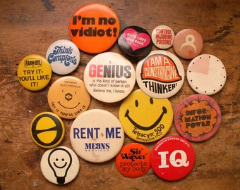 Collection of Vintage Geek Style Pin Back Buttons - Retro Flair for your Jean Jacket!