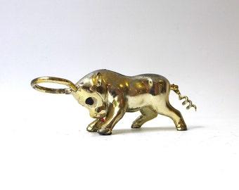 Vintage 1950s kitsch gold tone bull corkscrew and bottle opener