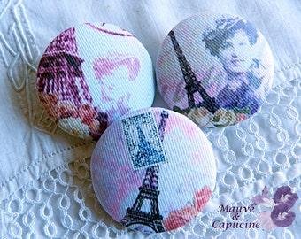 3 fabric buttons, Paris retro, 0.94 in / 24 mm