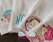set if 4 Hedgehog Burp cloths - Personalized