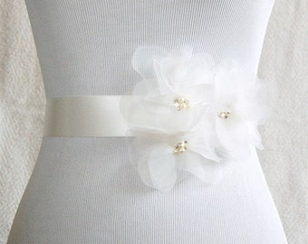 Ivory Organza Flower Bridal Sash -Vera Wang Inspired
