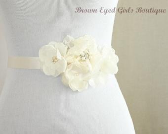 Ivory Lace and Chiffon Bridal Sash