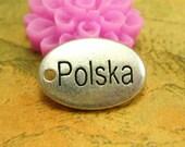 "20 pcs Silver ""Polska"" Tags Charms 14x10mm CH1896"
