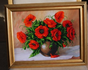 Hand made 'Poppy bouquet.'  Embroidered with Beads picture