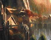 Lord of the Rings LOTR inspired fine art print of my original oil painting, Frodo at Rivendell. Signed by the artist
