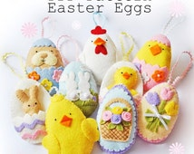 Easter Eggs set one PDF pattern, instant download, sew your own, diy, sewing project, template, wool felt