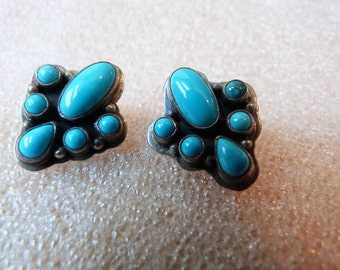 Pierced Turquoise Cluster Sterling Silver Earrings Marked LY