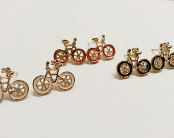 40% OFF - Gold tone and Enamel Bicycle Charm Fashion Earrings Posts - EABIKE02
