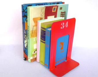 NEON PINK Industrial BOOKENDS/ Upcycled Metal Bookends