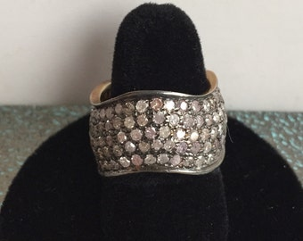 Sterling Silver & Diamond Wave Ring Band*