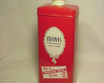 c1950s Mavis Imported Talcum Vivaudou New York, N.Y., Talcum Powder Advertising Tin