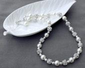 SALE Bridal Pearl Rhinestone Necklace Crystal Wedding Jewelry White or Ivory NK057LX