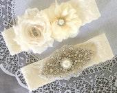 Wedding Garter Belt Set Bridal Garter Set Ivory Lace Garter Belt Lace Garter Set Rhinestone Crystal Pearl Center Garter GR103LX