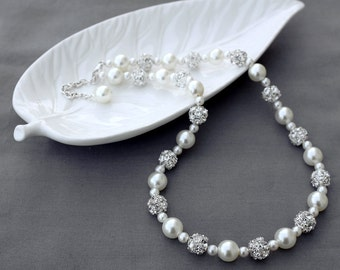 SALE Bridal Pearl Rhinestone Necklace Crystal Wedding Jewelry White or Ivory NK057LX