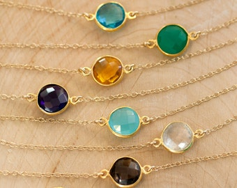 layered necklaces - Gemstone Connecters - Layering necklace - Simple Round Stone Necklace - Gold Necklace - Delicate Minimalist Jewelry