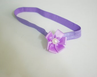 Lavender Purple Ribbon Pearl Flower Headband--One Size Fits Most Headband Prop Boutique