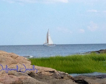 Picture Perfect Sailboat in Long Island Sound 5x7 Ivory Matted Print, Landscapes, Natural Beach Scene, Nautical Photography