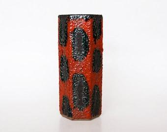 Vintage Red Black Vase  - 1970s