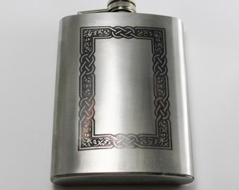 Laser Engraved Celtic Border Flask