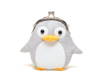 Grey furry penguin card holder wallet