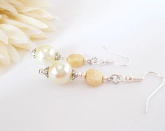 Yellow Pearl Drop Earrings, Sterling Silver, Yellow Bridesmaids Jewelry, Handmade, Lemon Yellow Beaded Earrings, Wedding Jewelry, Dangle