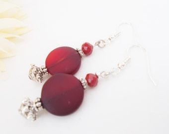 Sea Glass Earrings, Red Seaglass Earrings, Brick Red Earrings, Statement Earrings, Dark Red Dangle Earrings, Ruby Red Crystal Earrings