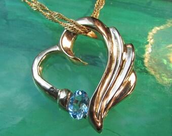 Engel Herz Halskette, blauer Topas Geburtsstein Schmuck, Goldkette ...