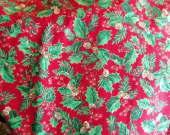 VIP 100% Cotton Allover Holly Leaves and Berries with Cone Accents, All Accented by Gold,  on a Rich Red Background, 5 Yards
