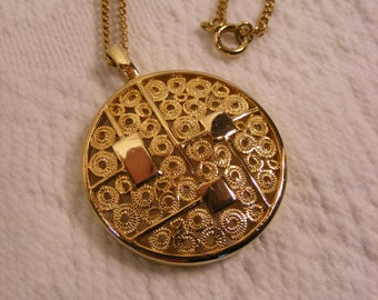 Sarah Coventry Statement Pendant, Gold Tone, Geometric Touches