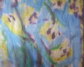 SALE - Past Season Yellow Tulips for Hair Bandanna - Silk Chiffon Hand Painted Accessory for fun and for Weddings