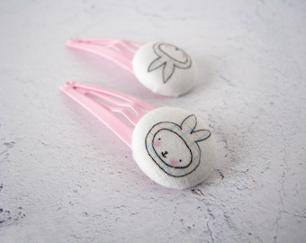 Easter Bunny Hair Clips, Pink Toddler Bunny Hair Clips , Easter Basket Gift for Girls