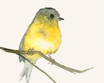 Yellow Bird Watercolor Print