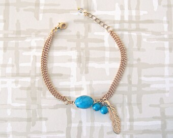 Turquoise Leaf Charm Bracelet