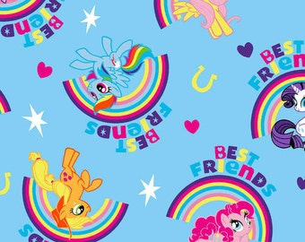 Hasbro My Little Pony Best Friends Toss on Blue  cotton fabric from Springs Creative