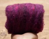 Plum Needle Felting Wool, Wool Batting, Batts, Wet Felting, Spinning, Dyed Felting Wool, Dark Purple, Eggplant, Fiber Art Supplies