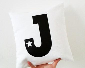 CUSTOM cushion, monochrome nursery decor, nursery decor, personalised printed cushion, initial letter cushion, monochrome kids interior