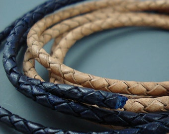 Leather, 3MM Tan Natural Braided and 3MM Dark Navy Blue Braided, Destash