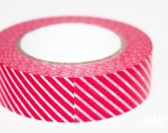 red & white diagonal striped washi tape - Paper Masking Tape