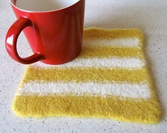 Felted wool hot pad in yellow & winter white stripes