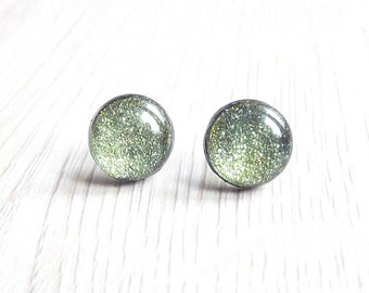 Gold And Green Stud Earrings Glitter Jewelry Sparkle Post Earrings FREE SHIPPING